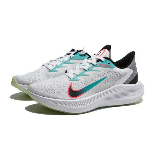 【滿額最高限折$250】NIKE 慢跑鞋 ZOOM WINFLO 7 白粉藍 訓練 健身 休閒 女 (布魯克林) CJ0302-102