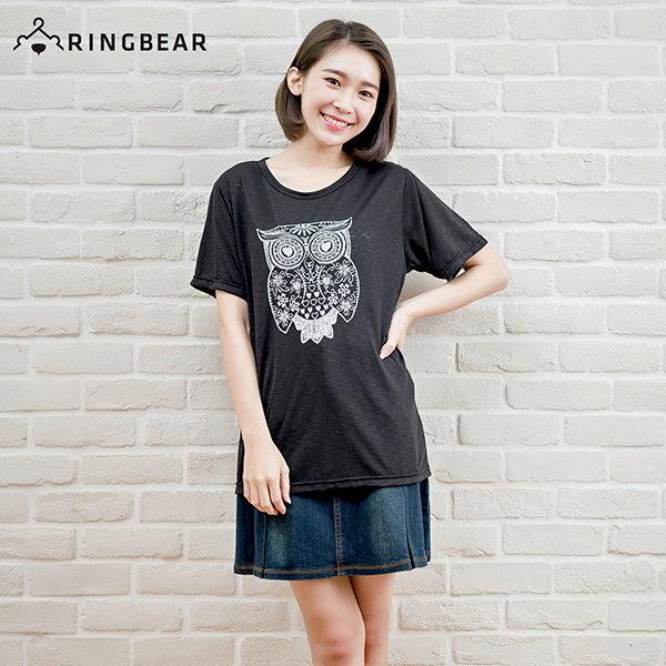 短袖T恤--森林感手繪風格貓頭鷹印圖竹節棉上衣(黑.藍XL-5L)-T208眼圈熊中大尺碼 1