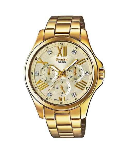 CASIO SHEEN SHE~3806GD~9A點彩晶鑽 腕錶  金色面39mm