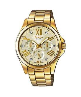CASIO SHEEN SHE-3806GD-9A點彩晶鑽時尚腕錶/金色面39mm