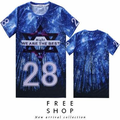 Free Shop~QFSLY3301~日韓美式滿版數字28星空樹林銀河星星文字印花圓領棉