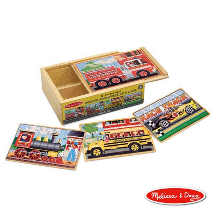 【寶貝樂園】美國瑪莉莎 Melissa & Doug盒中木製拼圖 - 交通工具 0