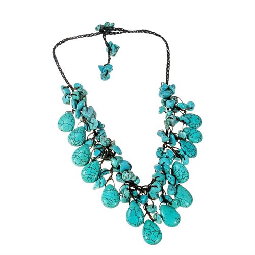 Pretty Turquoise Drop White Pearl Wax Rope Necklace 1