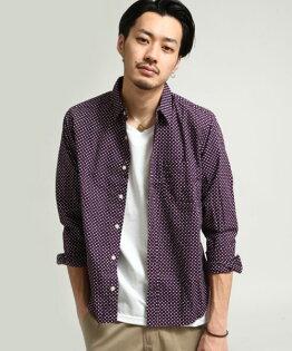 日本製長袖襯衫圓點PURPLE