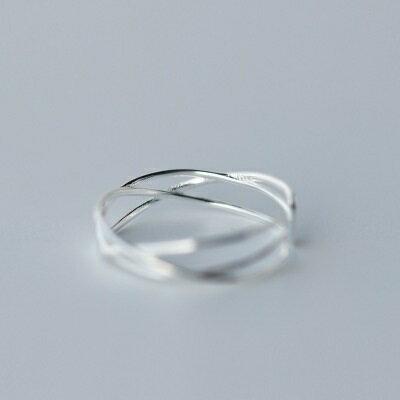 925純銀戒指開口戒~高貴大方交叉編織七夕情人節 女飾品73dt70~ ~~米蘭 ~