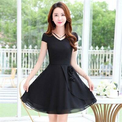 連身裙短袖洋裝-雪紡純色V領花朵女連衣裙5色73ri52【獨家進口】【米蘭精品】