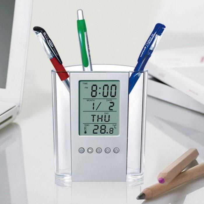 筆筒數字鐘 電子萬年曆時鐘 液晶螢幕電子鐘 鐘 溫度計 計時器【DB435】◎123便利屋◎