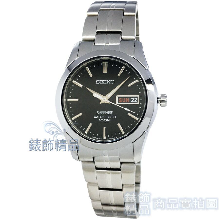 【錶飾精品】SEIKO SGG715P1 精工表 SGG715 黑面 藍寶石水晶玻璃鏡面 夜光 鋼帶 男錶