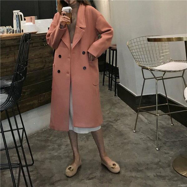 BOBI:大衣復古雙排釦呢翻領氣質長款長大衣外套【MYYA118】BOBI0111