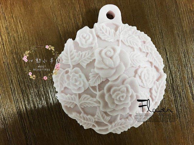 心動小羊^^DIY矽膠模具肥皂香皂模型矽膠皂模藝術皂模具香磚擴香石復古玫瑰吊牌(單孔)
