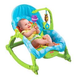 加贈竹纖維寶貝餐具五件組【Fisher-Price費雪】可愛動物可攜式兩用安撫振動搖椅兒童躺椅-嬰兒床遊戲床