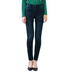 鉛筆褲--完美剪裁顯瘦復古刷色魚紋浣熊刺繡皮革小直筒牛仔褲(藍M-3L)-C107眼圈熊中大尺碼