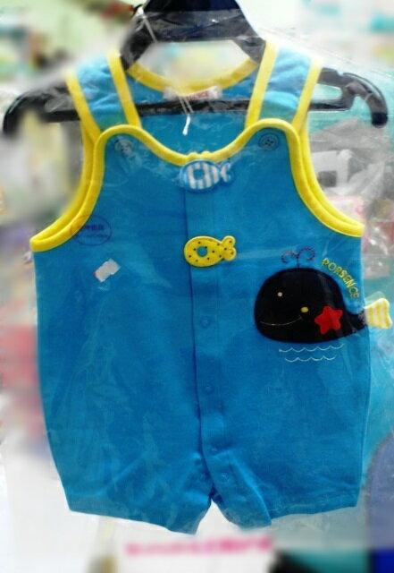 【嬰幼兒服裝】台灣童裝 PORSENCE波紳絲 可愛小魚圖案嬰兒吊帶連身衣
