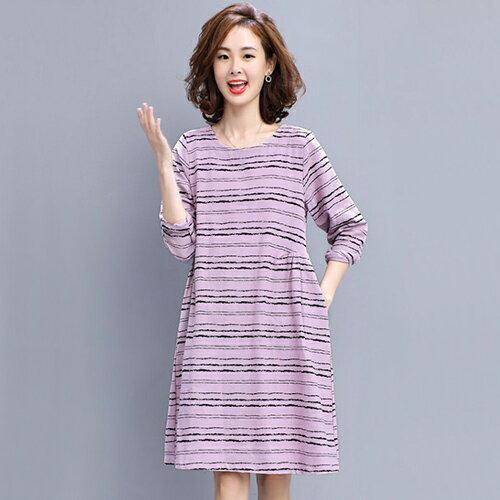 條紋寬鬆大碼棉麻連身裙(4色M~3XL)【OREAD】 1