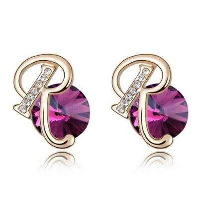 ~水晶耳環 925純銀耳飾~唯美字母R精緻鑲鑽女飾品4色73bd45~ ~~米蘭 ~