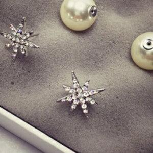 美麗大街【GE422】 雪花珍珠雙面耳釘微鑲滿鑽星星耳環女耳飾精緻百搭配飾