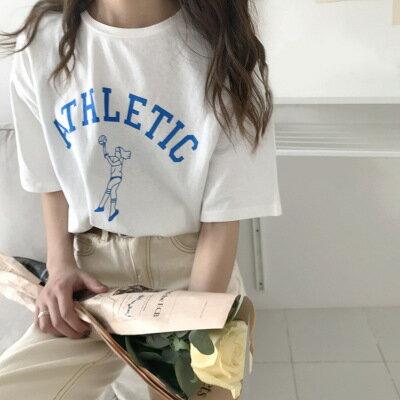 排球卡通人物印花字母短袖T恤樂天時尚館。預購。[全店免運]