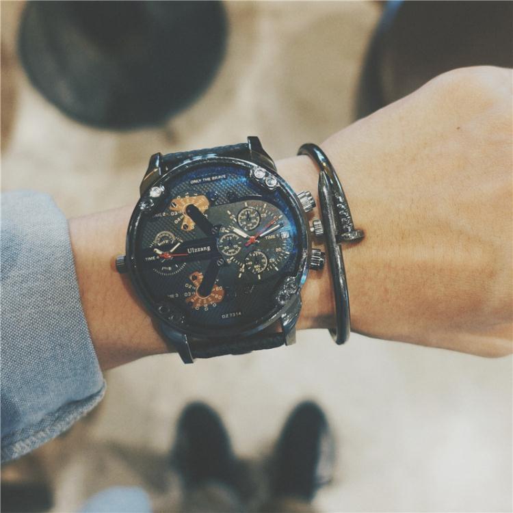 手錶吃雞同款快手紅人歐美潮流雙機芯大表盤日歷學生復古皮帶男表