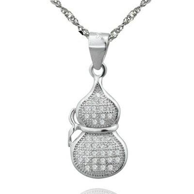 925純銀項鍊 鑲鑽吊墜~簡潔耀眼葫蘆 母親節情人節生日 女飾品73dk541~ ~~米蘭