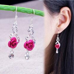 防過敏合金耳環   玫瑰八字造型水鑽耳環EC2003 ----- 日韓/耳飾/飾品/水鑽/鋯石/鋯鑽/王子與公主