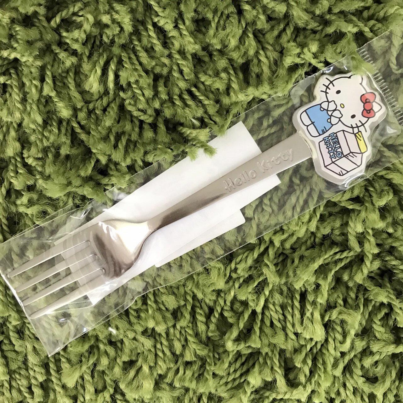 【真愛日本】17111600044 不鏽鋼造型叉子-KT牛奶盒 三麗鷗 kitty 凱蒂貓 餐具 叉子 廚房用品