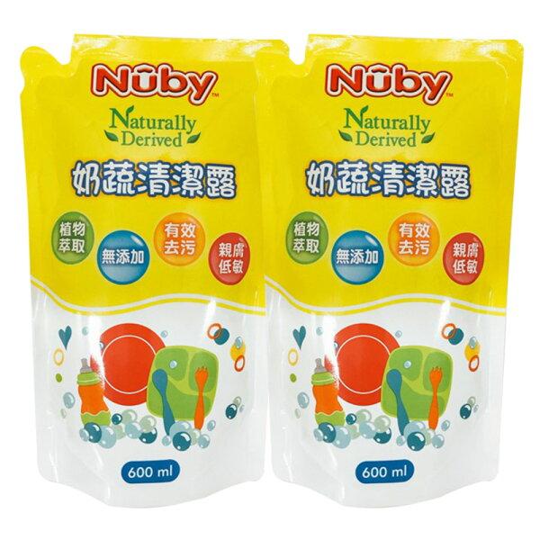 美國Nuby奶蔬清潔露補充包600ml(2入)