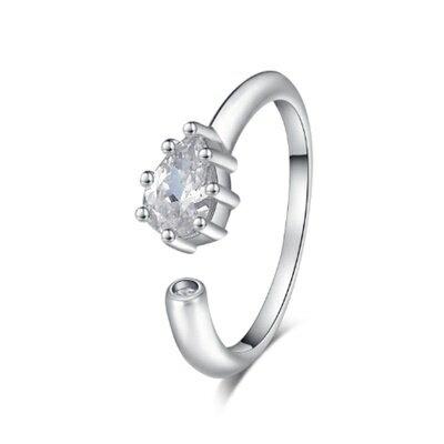 925純銀戒指鑲鑽銀飾~簡潔耀眼水滴 母親節生日情人節 女飾品73dx86~ ~~米蘭 ~