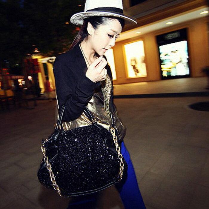 糖衣子輕鬆購【DZ0226】歐美時尚黑色亮片潮流單肩包斜跨包水餃包手提包大包包