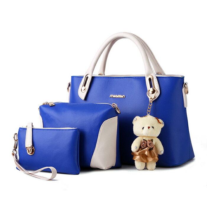 經典時尚撞色潮流小熊吊飾包中包三件組 #KLY8878 2