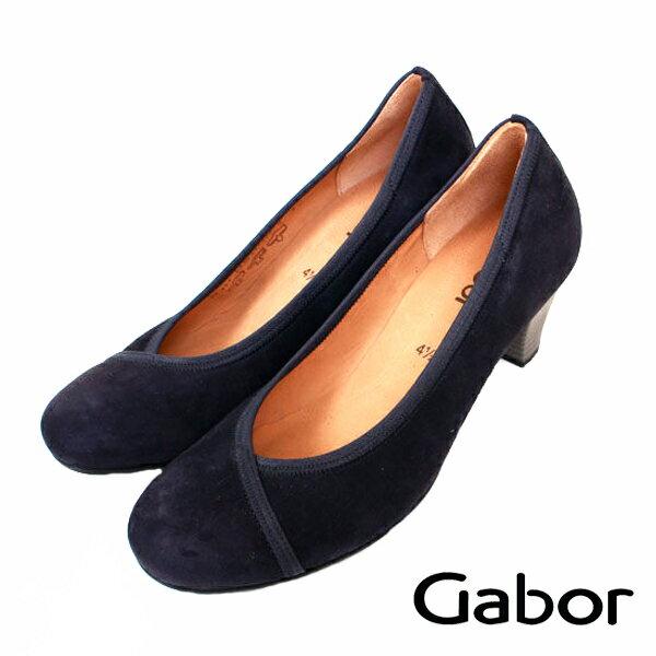 【GABOR 單一 降價 │全店免運】GABOR  交叉縫紋典雅低跟鞋 藍