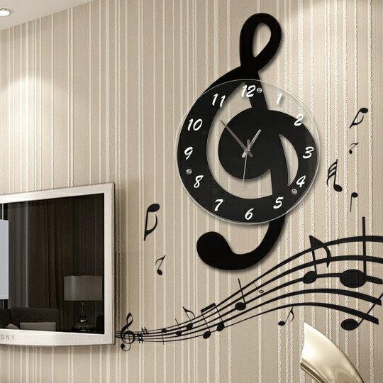 掛鐘音樂音符客廳掛鐘時尚鐘錶個性石英鐘田園裝飾時鐘靜音藝YJT 概念3C