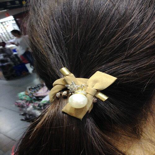 髮飾 韓版精緻優雅蝴蝶結珍珠盤髮帶 髮飾【PEA117】 BOBI  11/10 0