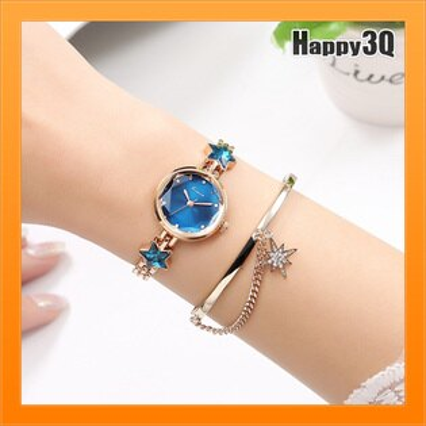 顯瘦手腕錶顯白錶流行手錶星空女錶手錶買一送一手環-藍彩白金粉【AAA4291】