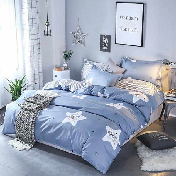 PureOne【幸運星】-加大美肌磨毛四件床包被套組