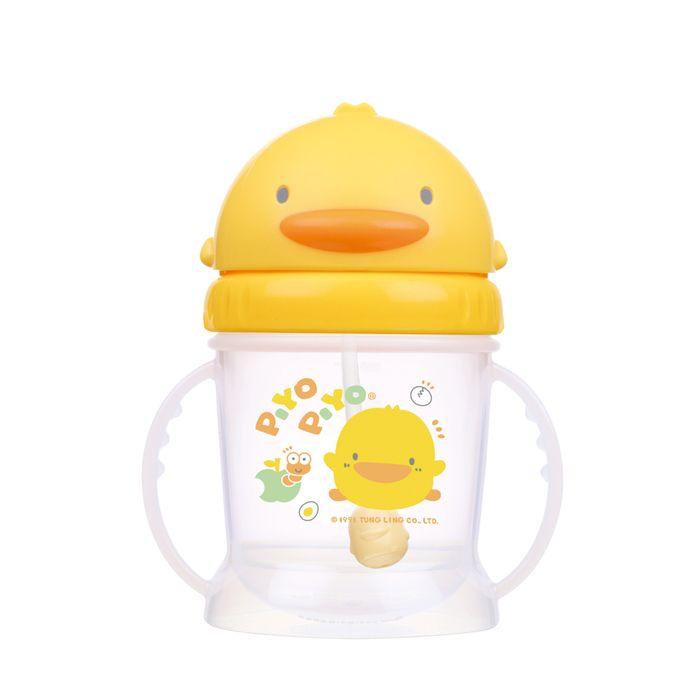 PiYo黃色小鴨-自動吸管PP滑蓋練習杯250ml(830507)★衛立兒生活館★
