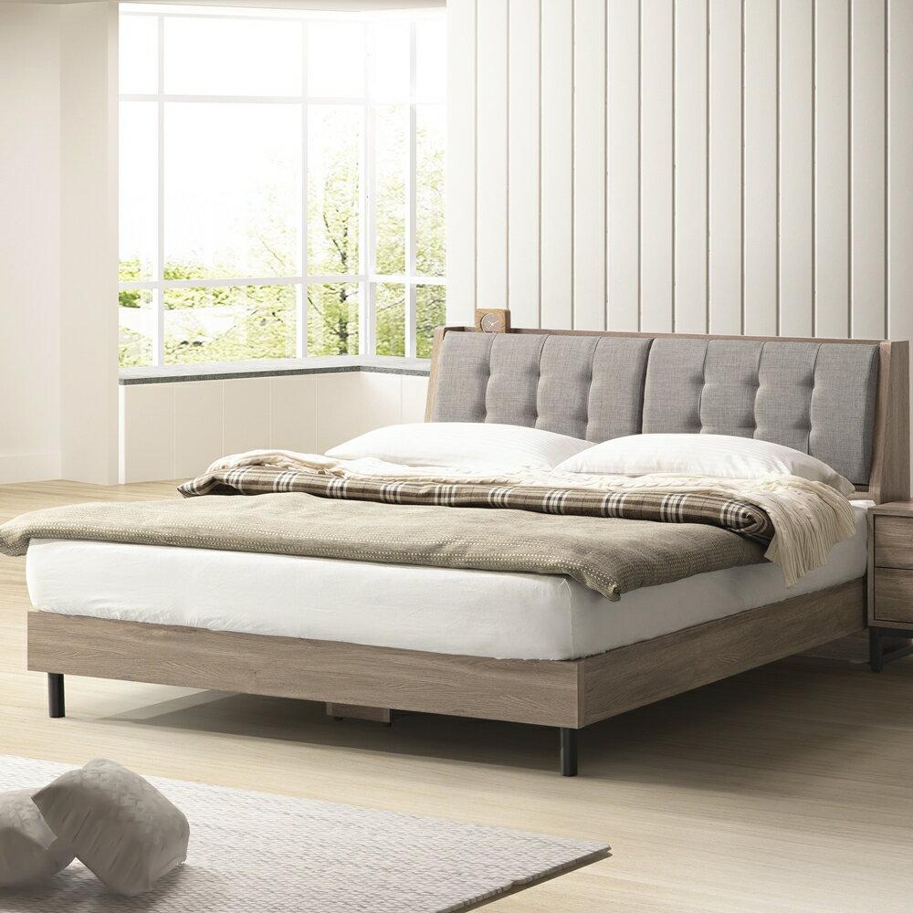 【日本直人木業】KEN古橡木5尺收納床組 (床頭加床底)