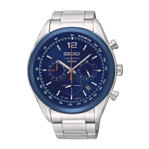 SEIKO CS潮流運動風格三眼計時腕錶/藍面/44mm/SSB091P1(6T63-00J0B)