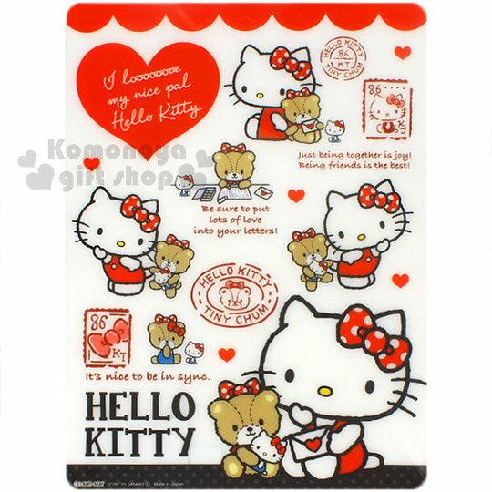 〔小禮堂〕Hello Kitty 日製墊板《白.多動作.小熊.愛心.郵票》