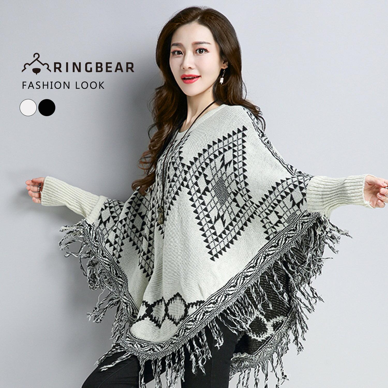 針織外套--時尚幾何織紋百搭針織圓領縮口連袖流蘇下襬毛衣(白.黑F-F)-X295眼圈熊中大尺碼 0