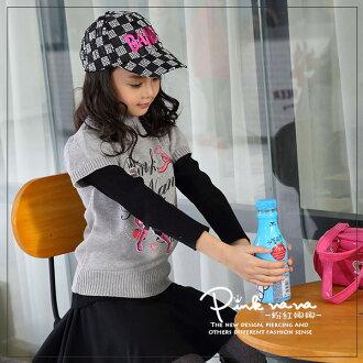PINKNANA女童秋冬短袖毛衣 英字娜娜印花短袖針織上衣22171