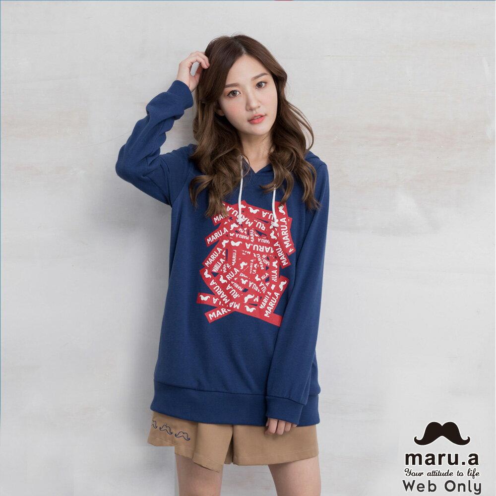 【maru.a】網路限定款*maru.a字母膠印百搭基本帽T(2色)8981211 0