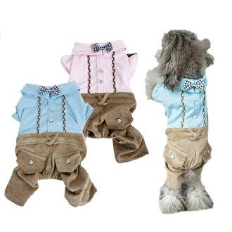 【小樂寵】紳士格紋蝴蝶結假兩件式連身褲.兩色