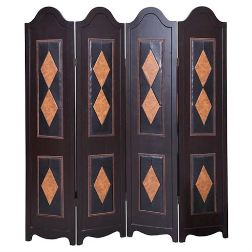 Legacy Decor Dark Brown 4 Panel Leather and Wood Screen Room Divider with Tan Diamond Shaped Accents