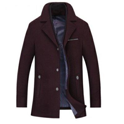 ☆毛呢外套長版大衣-時尚個性獨特假兩件男外套4色73ke6【獨家進口】【米蘭精品】