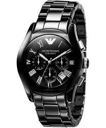 Emporio Armani 阿曼尼 經典羅馬黑色陶瓷三眼計時腕錶  AR1400  43mm