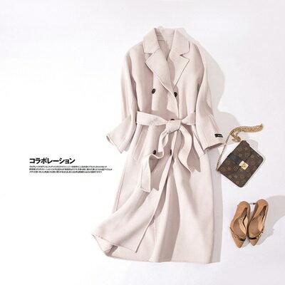 毛呢外套羊毛大衣-翻領純色雙排扣長款女外套2色73ty47【獨家進口】【米蘭精品】