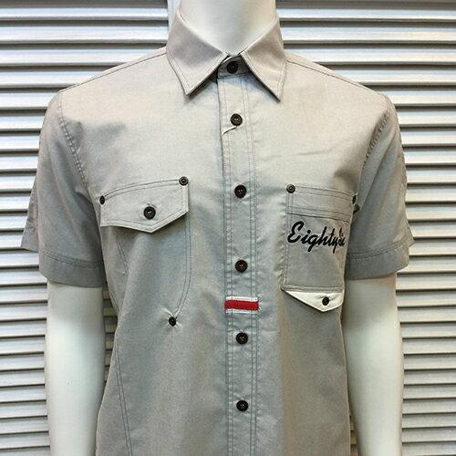 男裝 灰色牛仔男裝 短袖襯衫上衣 修身服裝款 ~ 灰色 M.L.XL.2XL ~ ~863