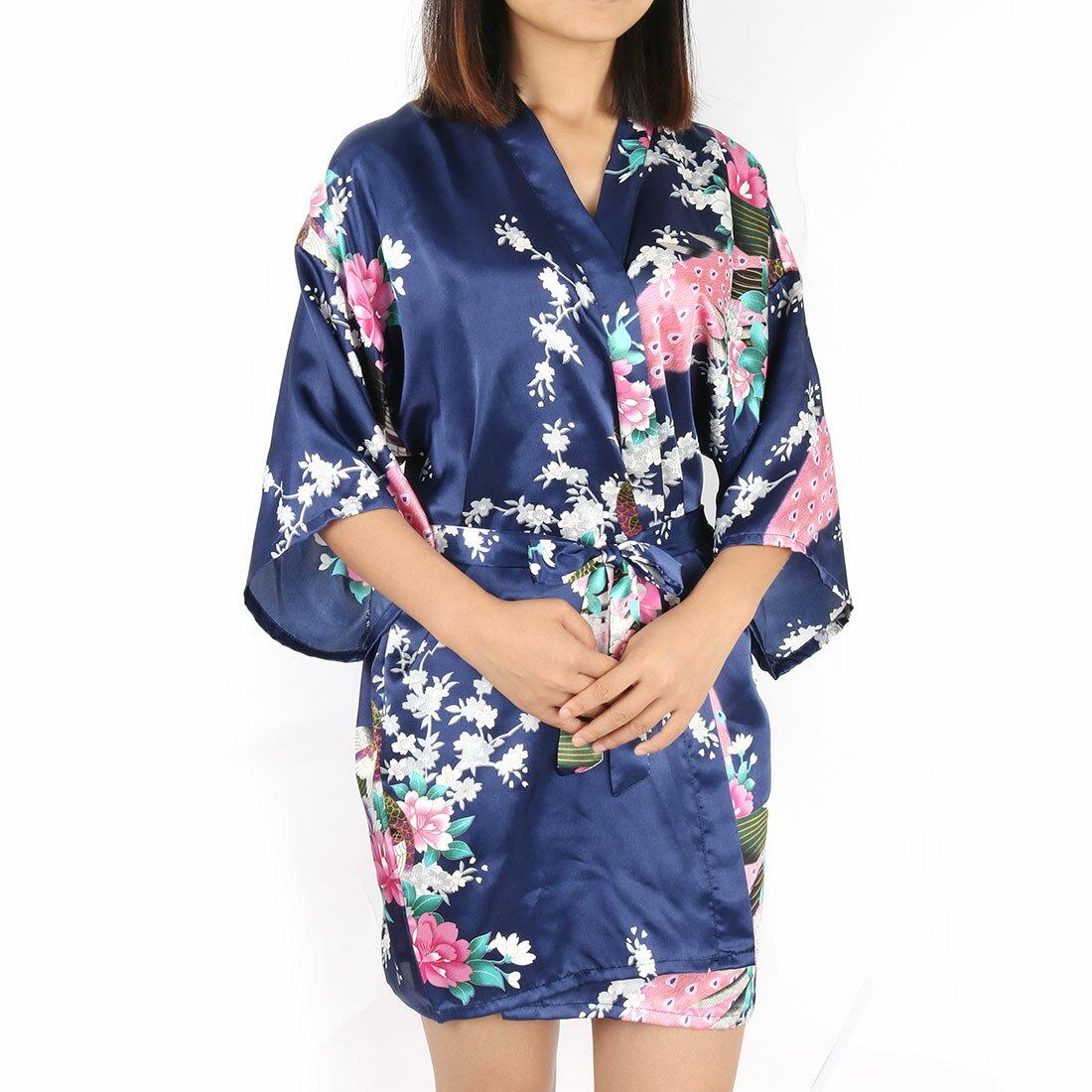 Unique Bargains  Women s Satin Short Kimono Robes for Wedding Party ... 30f058b20