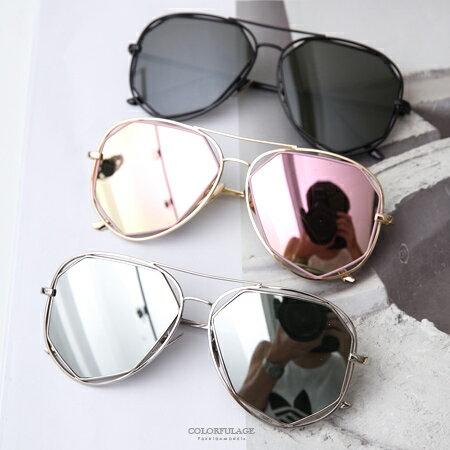 墨鏡 街頭個性風 不規則鏡片造型金屬太陽眼鏡 抗UV400 飛官造型 柒彩年代【NY336】MIT台灣製造 - 限時優惠好康折扣