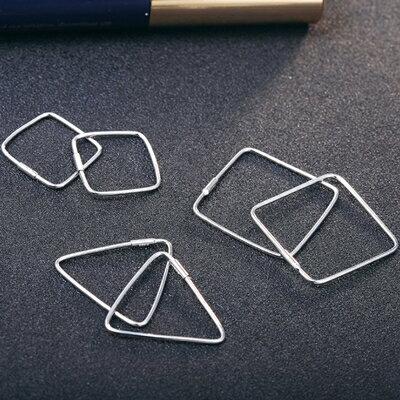 ~925純銀耳環耳飾~簡約三角正方形生日情人節 女飾品3款73dy180~ ~~米蘭 ~